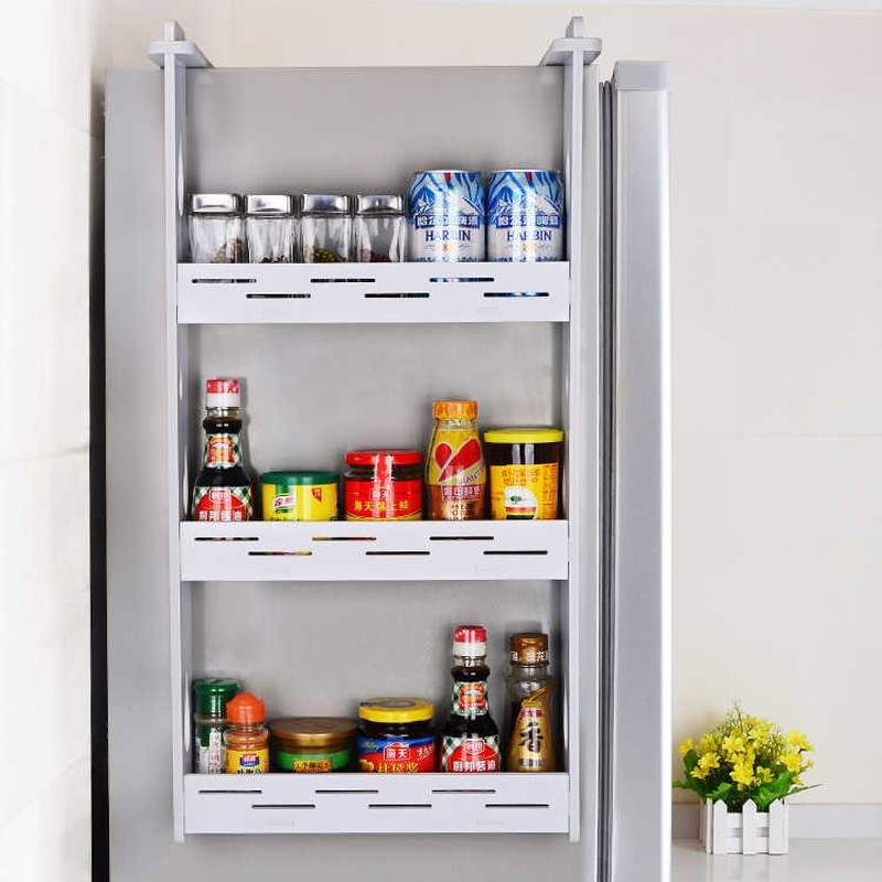 Refrigerator Rack Kitchen Pendant Refrigerator Side Wall Racking Condiment Wall Hanging Storage Shelf Spice Rack Lw0311246