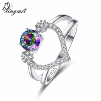 Lingmei New Arrivals Fashion Engagement Heart Round Multicolor & Red & White Zircon Silver Ring Size 6 7 8 9 Lover Style