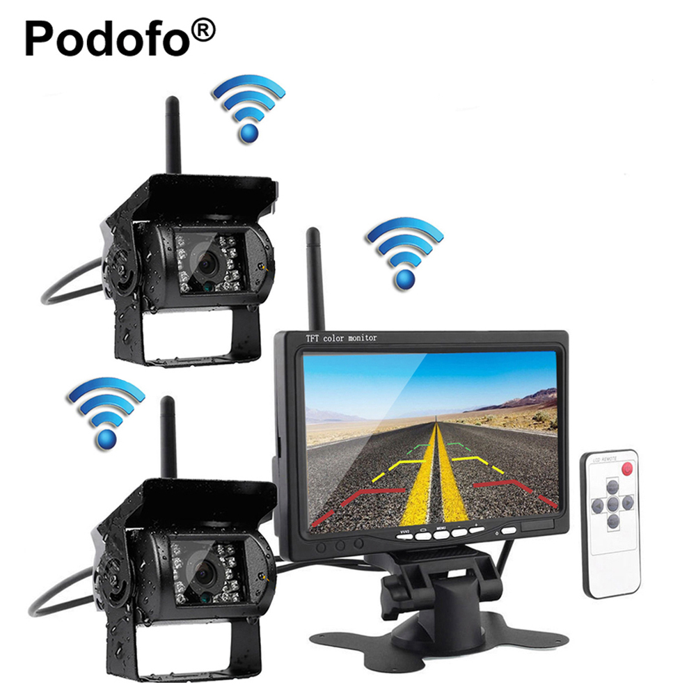 Podofo Wireless Dual Backup Reversing Cameras + 7 Car Monitor with IR Night Vision Rear View Camera for RV Truck Trailer Bus dual backup camera and monitor kit for bus truck rv ir led night vision waterproof rearview camera 7 lcd rear view monitor