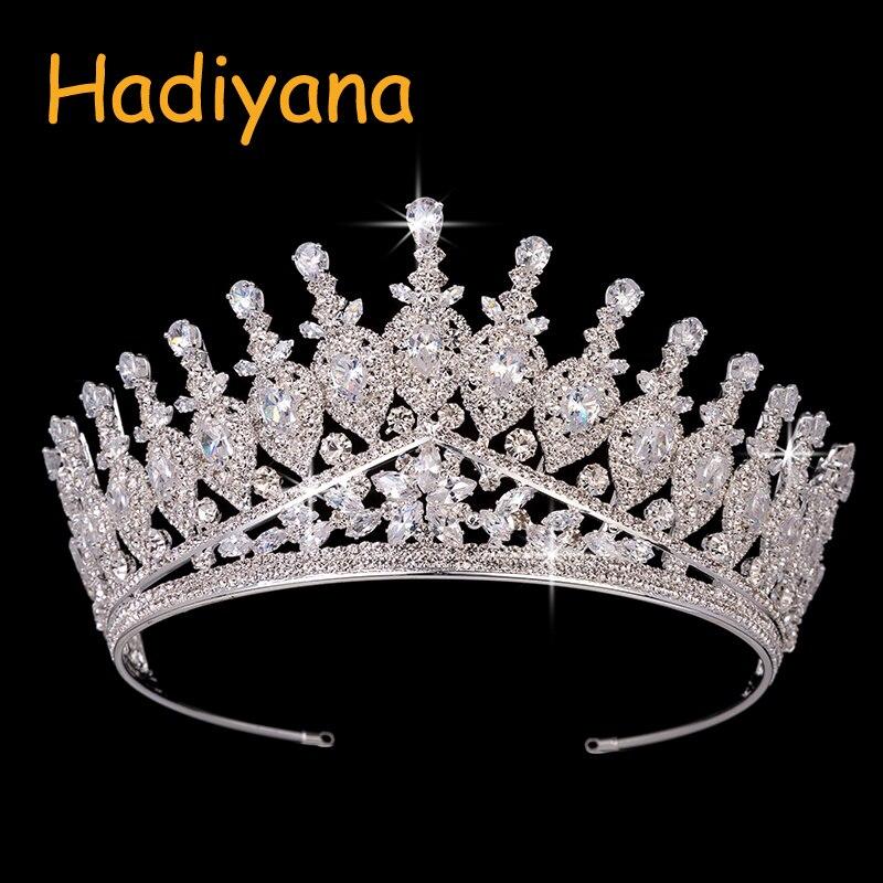 Hadiyana Bling Vintage Luxury Rhinestone 7 3cm High Big Crown Copper CZ Wedding Accessories Bridal Hair