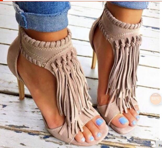 ФОТО Summer style cool apricot suede fringe sandals fashionable tassels weave ankle strap design open toe high heeled party shoes