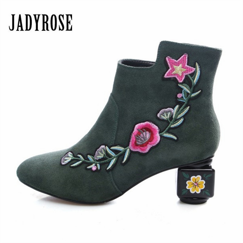 Jady Rose 2018 New Fashion Women Ankle Boots Autumn Winter Designer High Heel Boots Suede Embroidery Botas Mujer Ladies Shoes цены онлайн