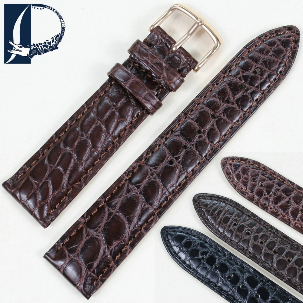 Pesno Superior Alligator Leather Watchband Black Brown Dark Brown Watchstrap 16mm 18mm 19mm 20mm 21mm 22mm 24mm with Round Grain