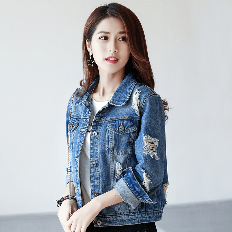 Woman Fashion   Basic     Jackets   2019 New Autumn Women Denim   Jackets   Ripped Hole Blue Jean Coats Outerwear Casaco Feminino F273
