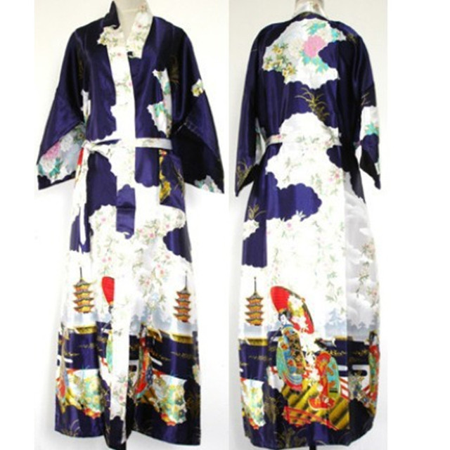 Free Shipping Navy Blue Chinese Women's Silk Rayon Robe Kimono Bath Gown Nightgown Size S M L XL XXL XXXL W2S002