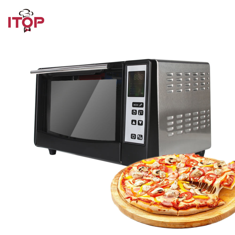 ITOP Electric Infrared Pizza Ovens Machine 4 Heating Tube 5 Cooking Modes Electric 220V EU Plug 1300W 10L Capacity in Ovens from Home Appliances