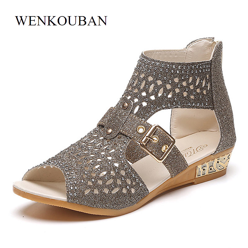 Gladiator Sandals Women Crystal Shoes Summer Flat Sandals Ladies Beach Shoes Anti Slip Casual Shoes Zapatos Mujer Sandalias summer sandals women clogs beach slipper women shoes casual sneakers women flats sandals ladies shoes zapatos mujer