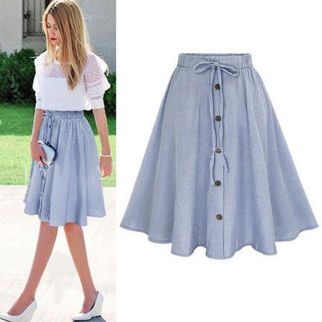 ada64b991f Midi Skirt 2019 Summer Women Clothing High Waist Pleated A Line Skater  Vintage Casual Knee Length Saia Petticoat