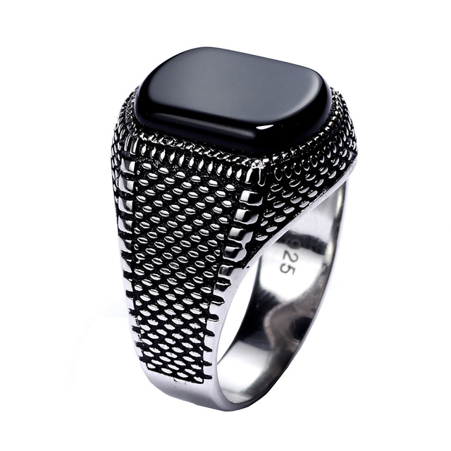 90038f854972a US $18.49 |Turkey Jewelry Black Ring Men Light weight 6g Real 925 Sterling  Silver Mens Rings Natural Onyx Stone Vintage Cool Fashion-in Rings from ...