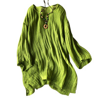 Cotton Linen Blouse Shirt Batwing Sleeve Loose Tops 2018 Summer Solid Color Plus Size Pullover Blouse Women
