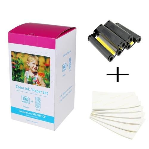 Compatible Canon KP-108IN 3 Color Ink 180 Sublimation Photo Paper 4*6 (100*148mm) for Canon Selphy CP1300 CP1200 CP900 Printer