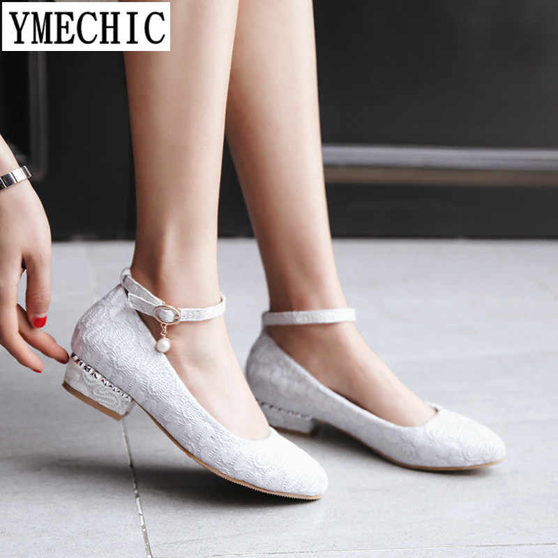 YMECHIC 2018 Lady Lace sexy Ankle Strap Low Heel Pumps Wedding Bridal Shoes Summer Spring White Red Chunky Heels Plus Size 43