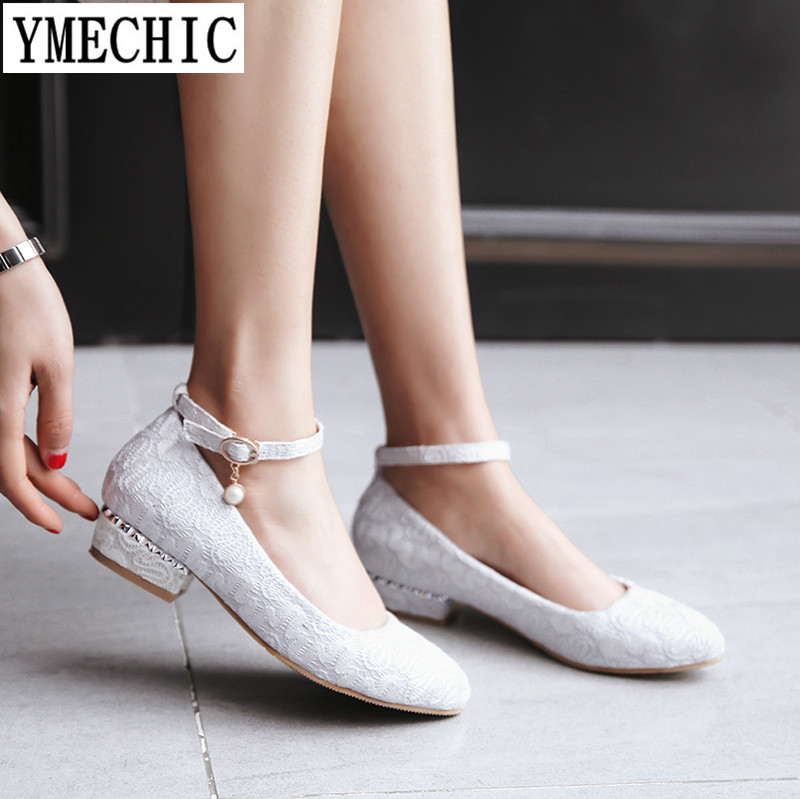 YMECHIC 2018 Lady Lace Sexy Ankle Strap Low Heel Pumps