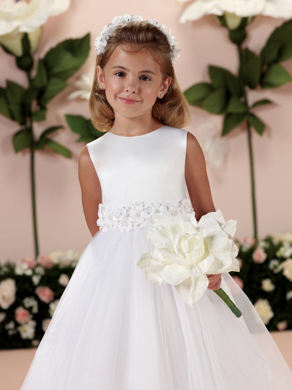Hot White Organza Flowers Sleeveless Ball Gown Flower Girl Dresses Cheap Tea-Length Communion Dresses vestidos de comunion 2019