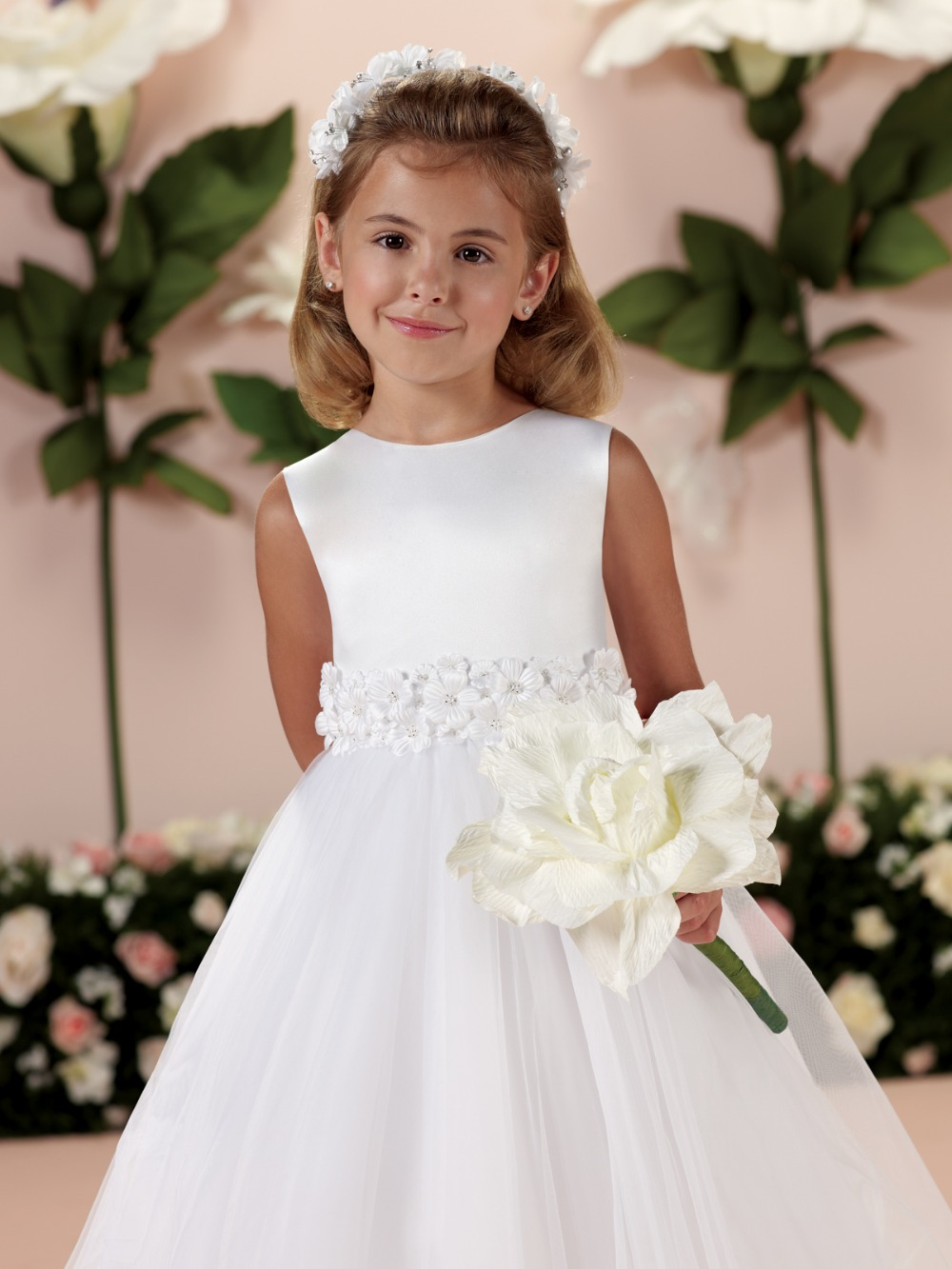 Hot White Organza   Flowers   Sleeveless Ball Gown   Flower     Girl     Dresses   Cheap Tea-Length Communion   Dresses   vestidos de comunion 2019