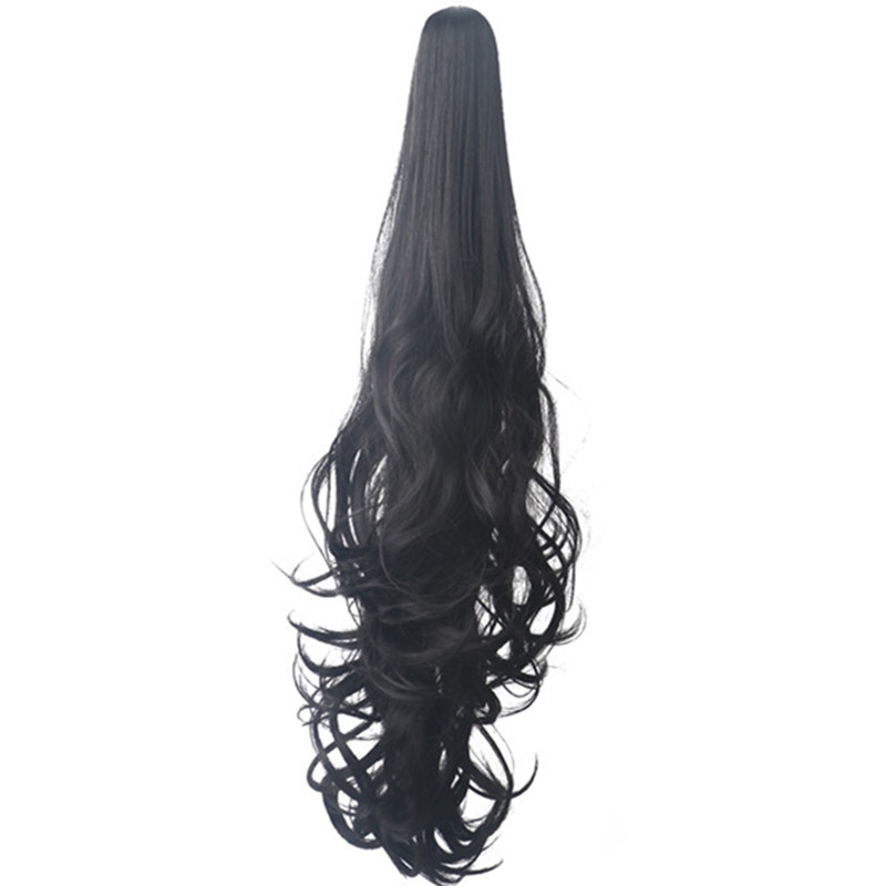 Hot DealsWoodfestival Cosplay Wig Hair-Extension Ponytail Claw-Clip Wavy Heat-Resistant BlackŽ