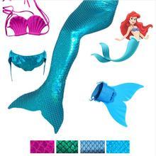 4 Pieces Girls Mermaid Tails For Swimming Costume with Monofin Kid Zeemeerminstaart Cola De Sirena Cauda Sereia Cosplay