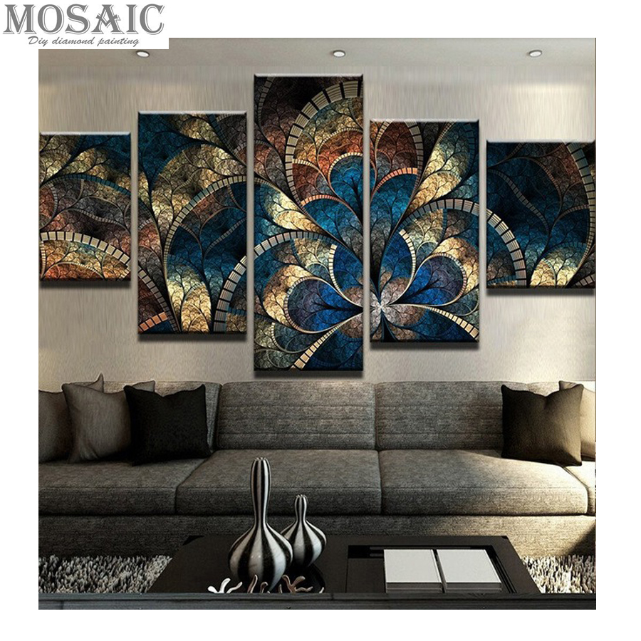 """5D DIY diamond painting 5 pcs""""abstract Fantasy Flower"""" For ..."""