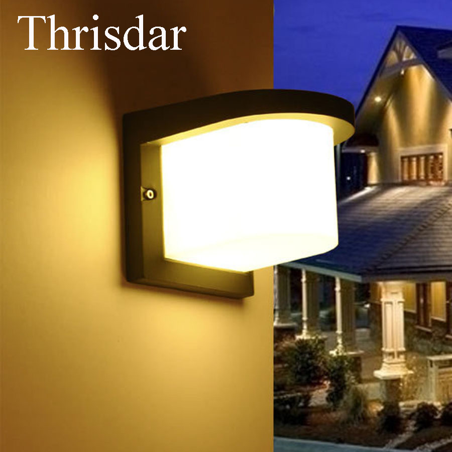 Thrisdar Waterproof 10W LED Wall Lamps Outdoor Aluminum Garden Porch Wall lamp Modern Villa Fence Balcony Gateway Wall Light modern villa porch light led wall light outdoor waterproof ip54 modern porch light led indoor outdoor wall lamps garden lamp