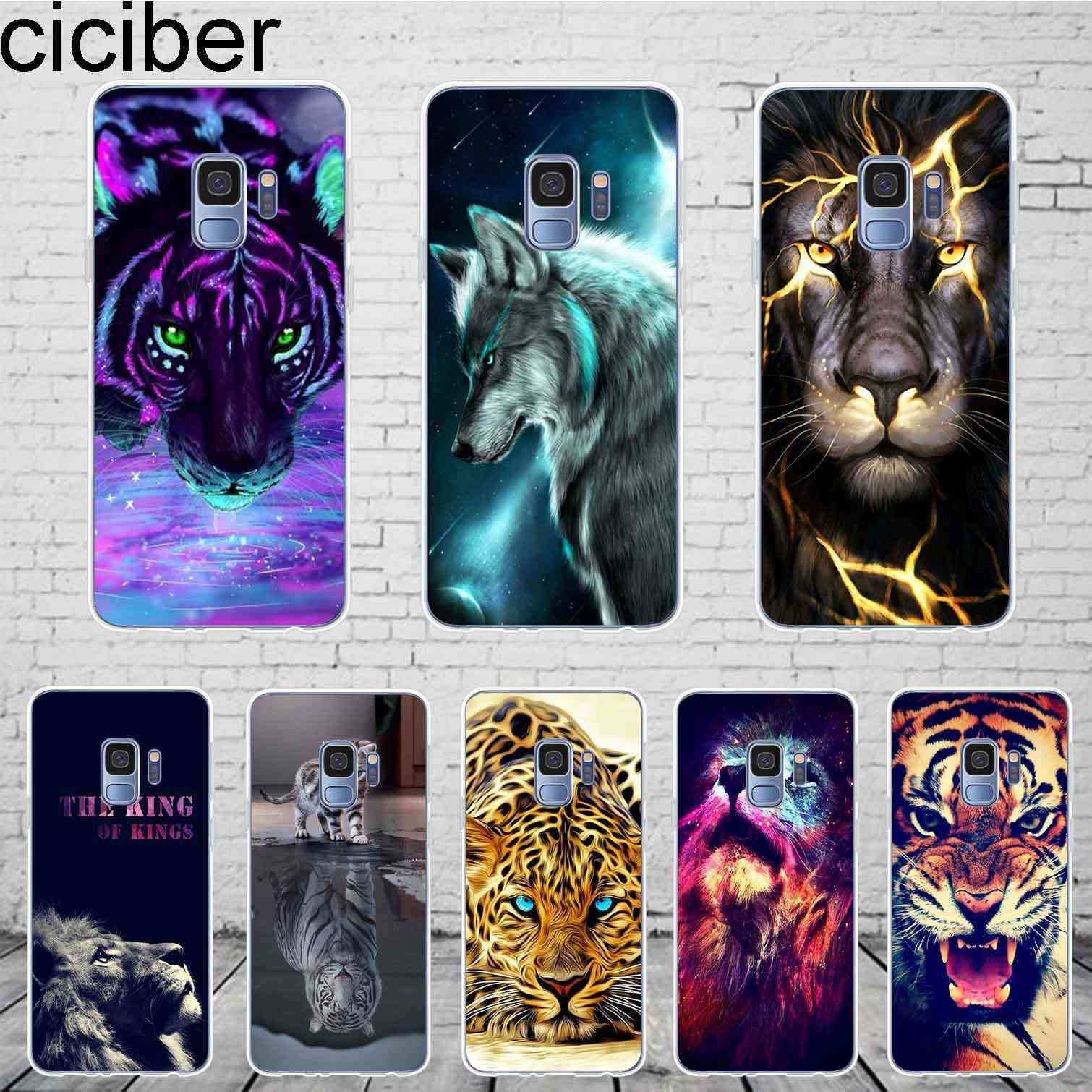 ciciber Lion Tiger For Samsung Galaxy S 5 6 7 8 9 Edge Plus Phone Case Soft TPU For Galaxy Note 3 4 5 8 9 10 Plus Cover Coque