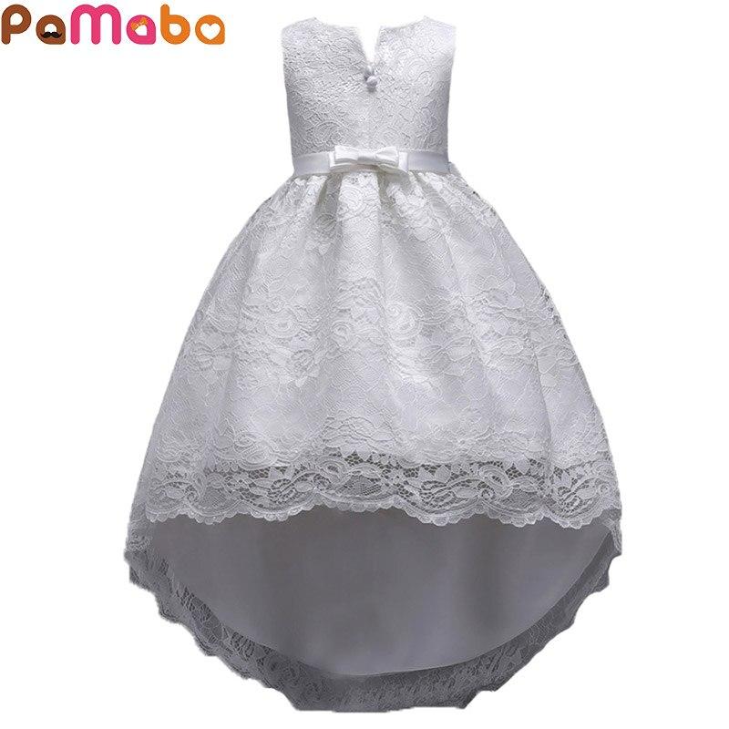 PaMaBa Summer Children's Dresses Baby Girl's Clothing Flower Girl Lace Dress Kids Girl Vestidos Performance Costume Ball Gown