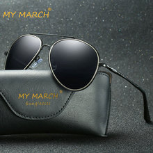 MYMARCH Classic Pilot Mens Sunglasses Vintage Driving Mirror Sun Glasses Male Fashion Eyewear Accessories Case