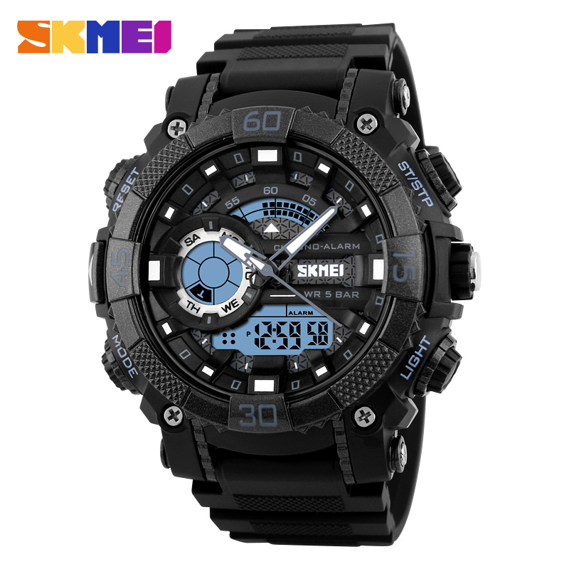 все цены на SKMEI 1228 Men Sport Watch Digital Quartz Watches LED Big Dial Clock 30M Waterproof Dual Display Wristwatches Relogio Masculino онлайн