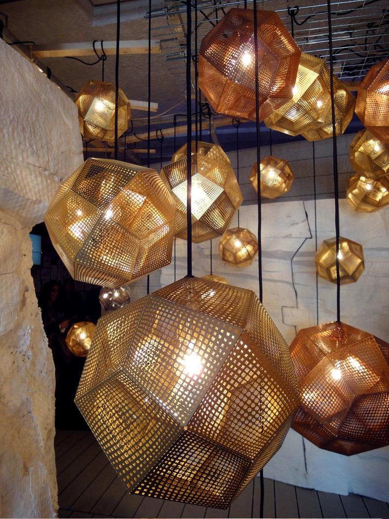 Modern Replica Diamond Stainless Steel Web Etch Pendant Light  Polyhedron Shadow  Living Dining Room Bar Study Hanging Lighting