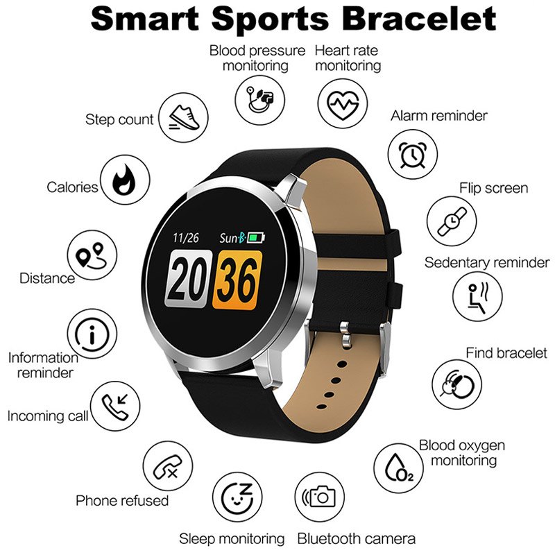 Fitness Smart Watch Men Women OLED Screen Heart Rate Monitor Blood Pressure Touch Pedometer Health Sport Watch For Android IOS 5