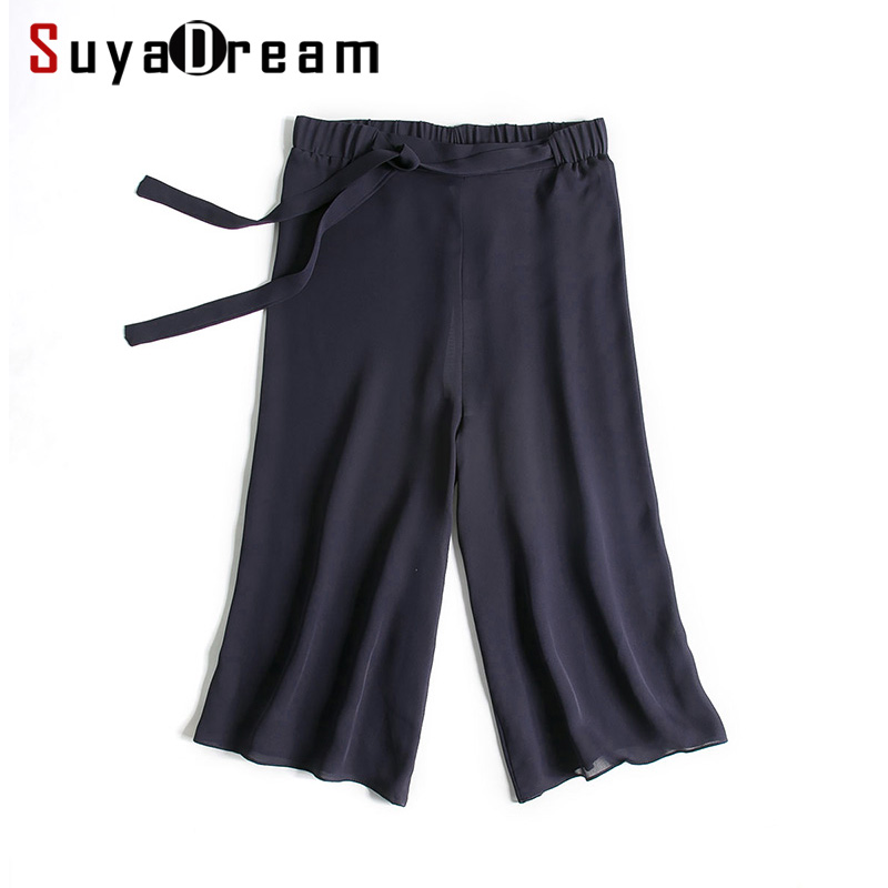 Women   Wide     Leg     pants   100%Natural silk Casual Calf Length   pants   Black Office Lady   pants   2019 Spring Summer New Navy