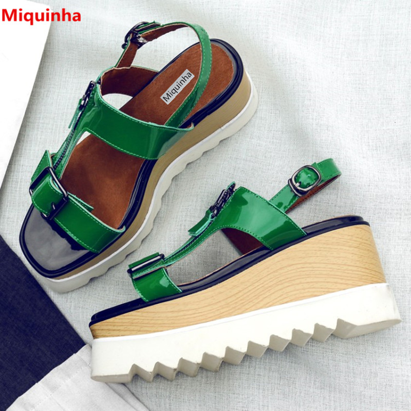 Miquinha Open Toe Buckle Strap Thick Boottom Women Summer Fashion Sandals Rome Style Zipper Wedges Women Casual Platform Shoes  miquinha summer fashion casual shoes women sandalia feminina open round toe buckle strap square heel shoes sexy ladies sandals