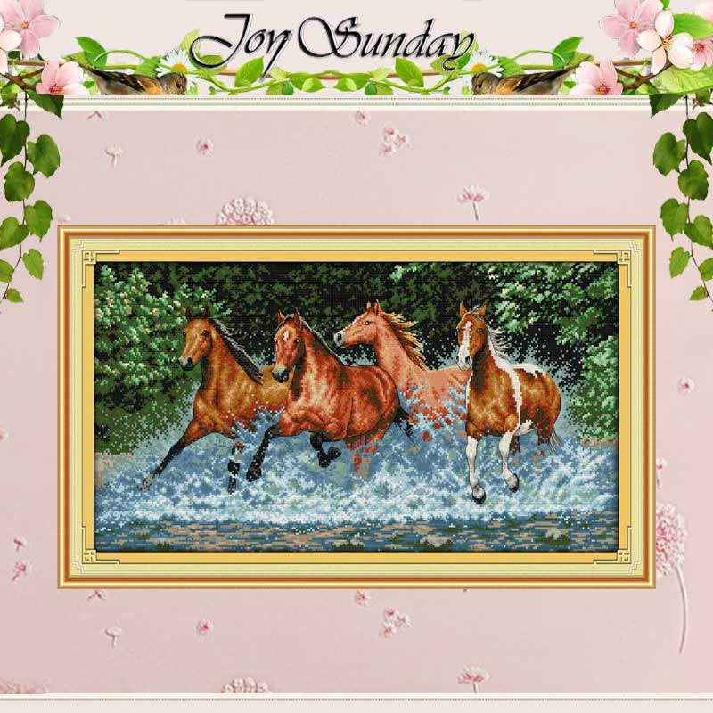 Horses Pattern Counted Cross Stitch 11CT Printed 14CT Cotton Cross Stitch Sets animals Cross-stitch Kits Embroidery Needlework