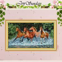 Horses Pattern Counted Cross Stitch 11CT Printed 14CT DMC Cotton Cross Stitch Sets DIY Cross Stitch