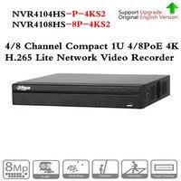 Оригинальный ahua NVR NVR4104HS P 4KS2 NVR4108HS 8P 4KS2 с 4/8ch PoE Порты и разъёмы H.265 видео Регистраторы Поддержка ONVIF CGI металла POE NVR
