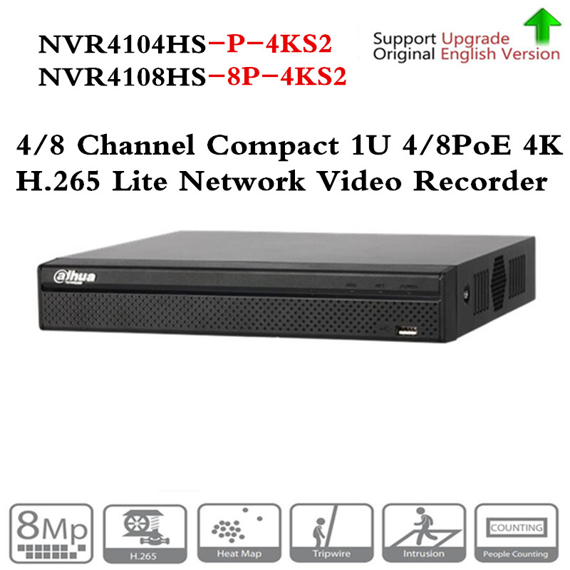 Original ahua NVR NVR4104HS-P-4KS2 NVR4108HS-8P-4KS2 with 4/8ch PoE Port H.265 Video Recorder Support ONVIF CGI Metal POE NVR