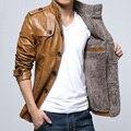 2017 Новый мужской Зимняя Куртка Пальто Мужская Мода Толщиной Проложенный Slim Fit Ово Воротник Плюс Хлопок PU Кожаная Куртка Для мужчины
