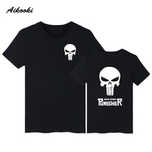 Aikooki 2018 MARVEL Punisher T shirt New Gothic Fashion Hip Hop Brand Men Women Short Sleeve Casual Cotton T-shirt Summer Tees