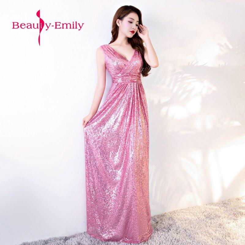 Belleza Emily nueve colores disponibles V cuello vestido de noche ...