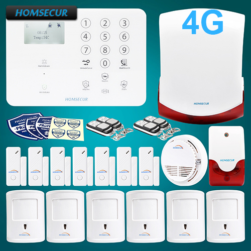 HOMSECUR Wireless 4G/3G/GSM SMS Autodial Home House Alarm System+Smoke Detector GA01-4G-W цена