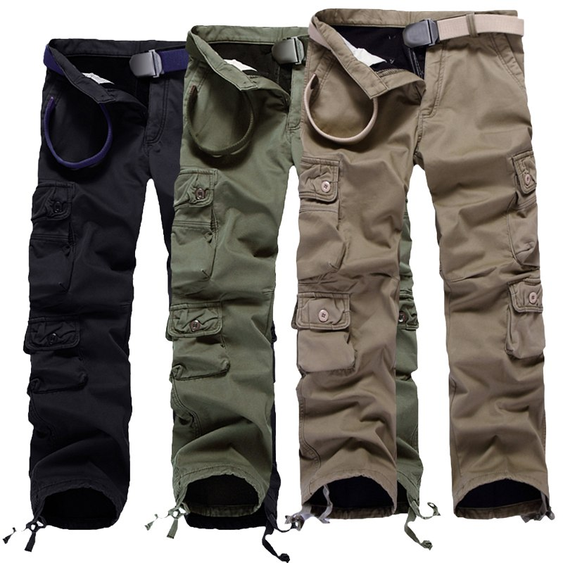 SHUJIN Plus size Men Cargo Pants Winter Thick Warm Pants Full Length Multi Pocket Casual Military Baggy Tactical Trousers 2018-in Cargo Pants from Men's Clothing