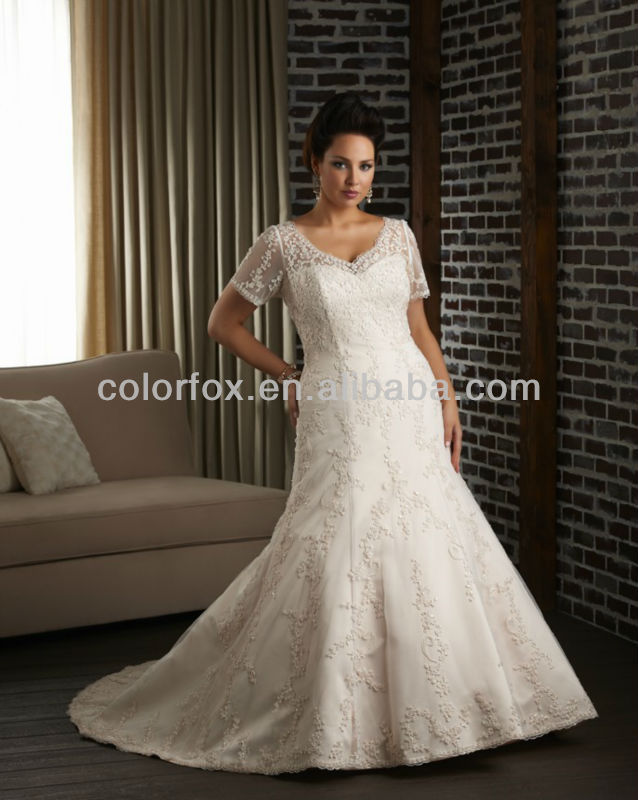 Scrolled embroidery tulle neckline floral scroll pattern for Plus size trumpet wedding dress with sleeves