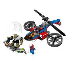 цена на 7106 299pcs Super Heroes Spiderman Batman Motorcycle Helicopter Compatible With Legoings 76016 Building Block Toy