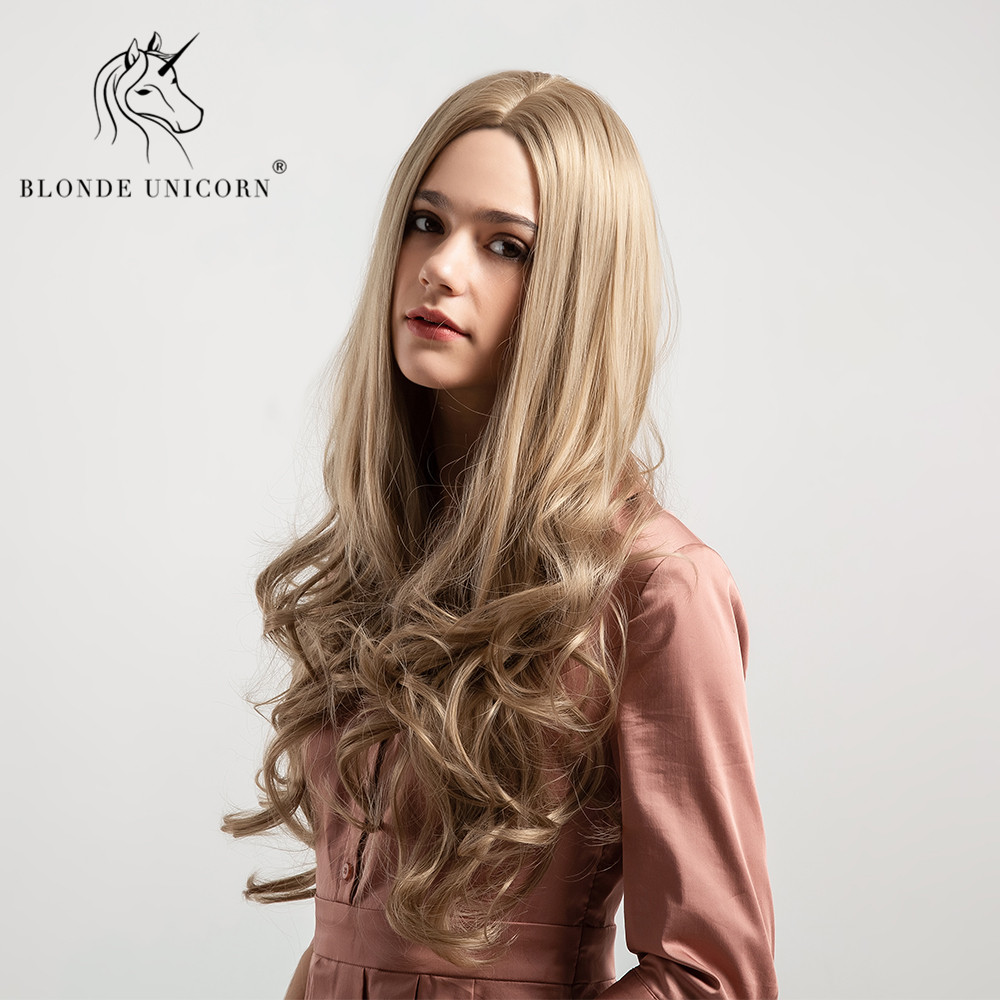 Blonde Unicorn Synthetic Wig 26 Inch Long Wavy Hair 5 Colors Pink Grey Brown Wig For Black/White Women  Cosplay Hair Wig