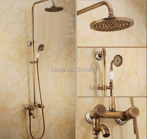 Aliexpress.com : Buy Antique Brass Luxury Rain Shower Faucet Tub ...