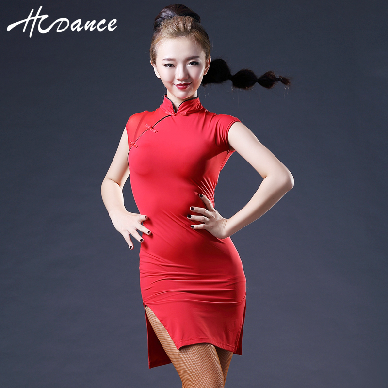 New Brand 3 Colors Latin Dance Dress Women Sleeveless Spandex Sexy Tango Dresses Salsa Latin Dress Competition Hcdance A368