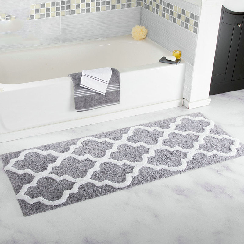 45 120CM Extra Long Geometric Patterned Microfiber Bathroom Tub and Shower Accent Rugs Bath Mat Area