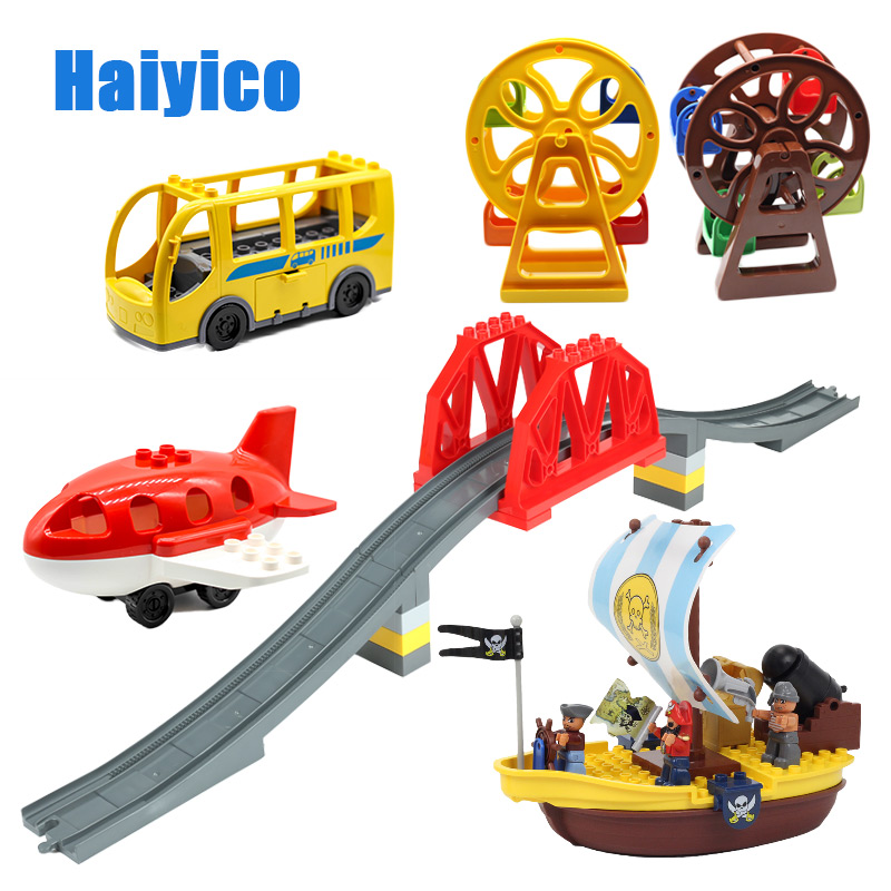 Ferris wheel Big Building Blocks Accessories Assembly Compatible With Duplo Basics Bricks Rail Bus Pirate Ship BABY Toys gifts big building blocks castle pirate arms armor war cannon model accessories bricks compatible with duplo set figure toy child gift