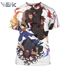 Summer new mens and womens short-sleeved sweatshirt 3D printing anime Naruto fashion popular top T-shirt pullover