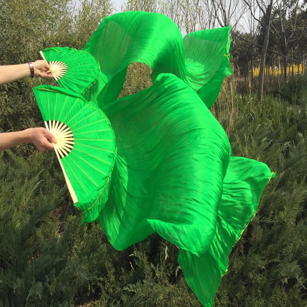 fri frakt 180 * 90 cm Belly Dance Real Silk Fan Veils Grön färg fabrikspris