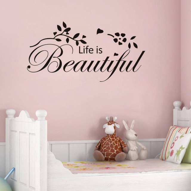 life is beautiful vinyl wall decal quotes home decor living room ...